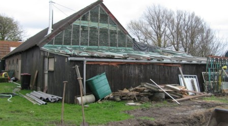 Bouwplaatsinrichting en bouwen van tijdelijke zaagloods